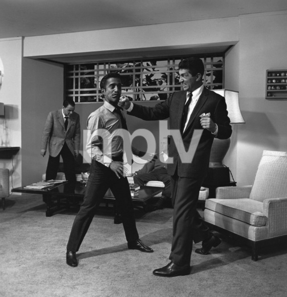 "Sammy Davis Jr. and Dean Martin staging a fight on the set of ""Ocean"