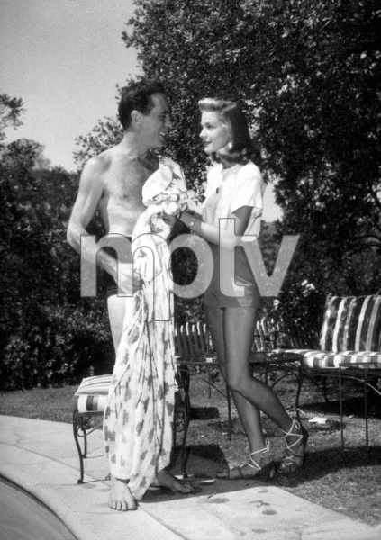 Humphrey Bogart and Lauren Bacall at their Benedict Canyon home, CA, 1947.MPTV - Image 0015_1295