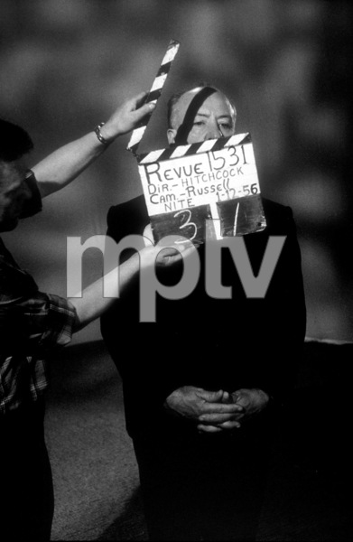 """Alfred Hitchcock on the set of""""Alfred Hitchcock Presents.""""January 12, 1956 / CBS. © 1978 Gene Trindl - Image 0017_0502"""
