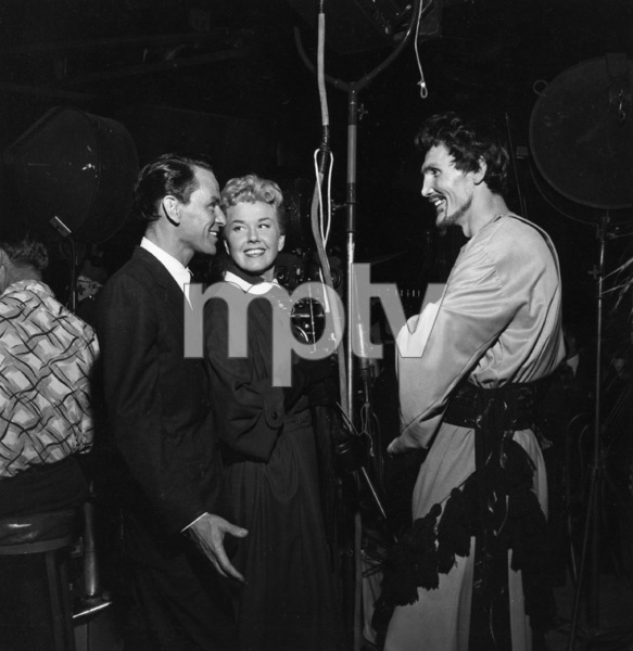 """Jack Palance visits with Frank Sinatra and Doris Day on the set of """"Young at Heart""""1954 © 1978 Sid Avery - Image 0021_0001"""