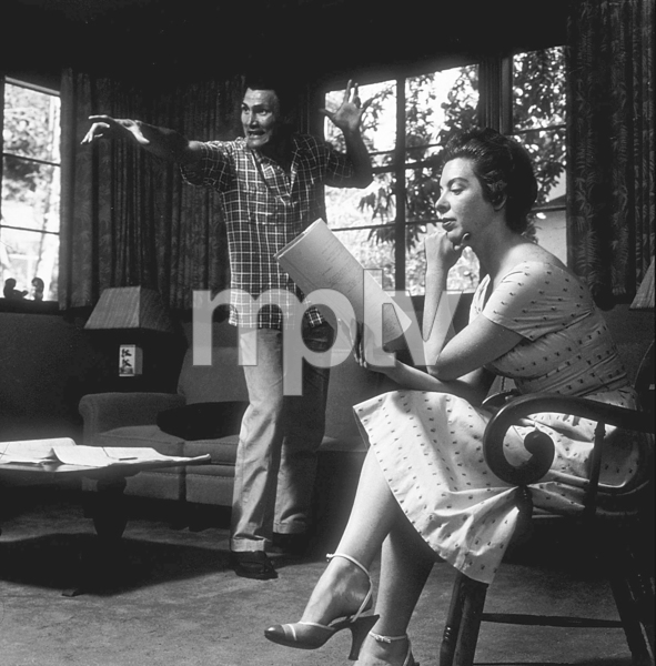 Jack Palance and his wife, Virginia, helping him rehearse at home in Beverly Hills, CA, 1954. © 1978 Sid Avery MPTV - Image 0021_0003
