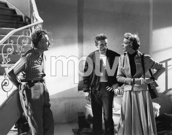 """James Dean and Marsha Hunt being directed by Nicholas Ray during rehearsals for """"Rebel Without a Cause""""1955 Warner BrothersPhoto by Floyd McCarty - Image 0024_0292"""