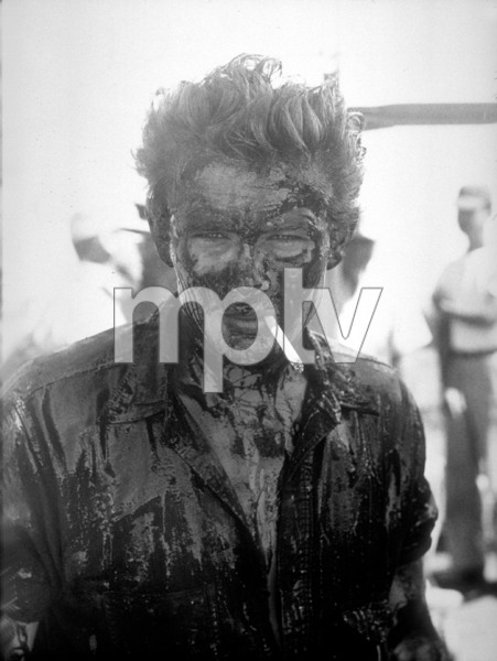 """James Dean after the oil striking scene for """"Giant"""" in Marfa, Texas.1955.Photo by Floyd McCarty - Image 0024_0402"""