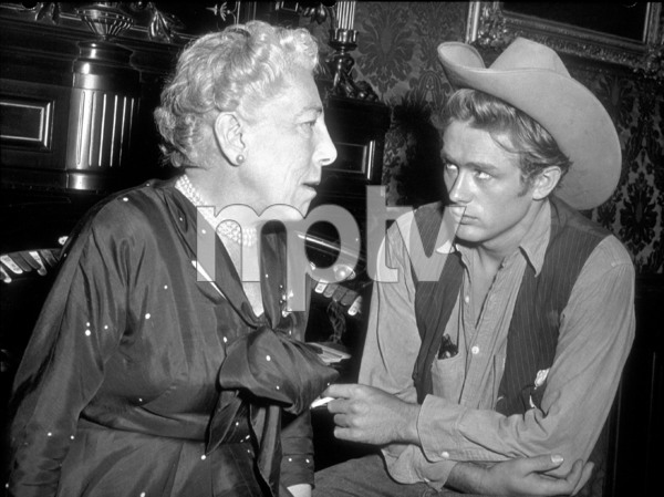 """James Dean and Edna Ferber, the authorof """"Giant"""" on the movie set, 1955.Photo by Floyd McCarty - Image 0024_0411"""