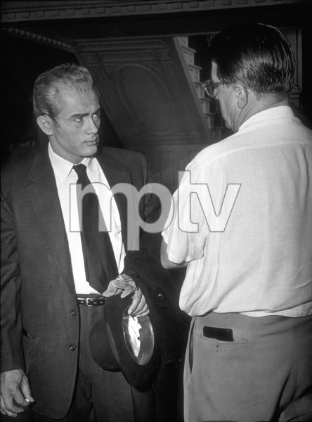 """James Dean and Directore George Stevenson the set of """"Giant.""""1955 Warner / MPTV - Image 0024_0451"""