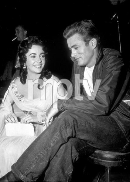 """James Dean and Elizabeth Taylor behind the scenes of """"Giant""""1955 WarnerPhoto by Floyd McCarty - Image 0024_0454"""