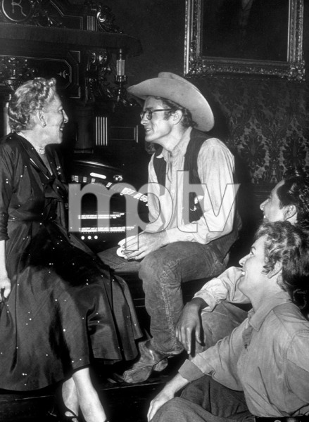"James Dean and Edna Ferbe (author of ""Giant"")off the movie set.1955 Warner / MPTVPhoto by Floyd McCarty - Image 0024_0455"