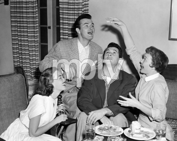 """Barbara Rush, Gregg Palmer, Rock Hudson and Jane Wyman in """"Magnificent Obsession""""1954 Universal** I.V. / M.T. - Image 0067_1138"""