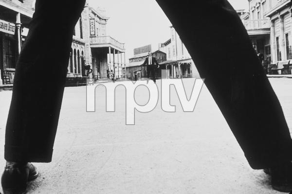 Bob Newhart enacting his gunfighter routine at Paramount Studios, 1961. © 1978 Sid Avery MPTV - Image 0092_1371