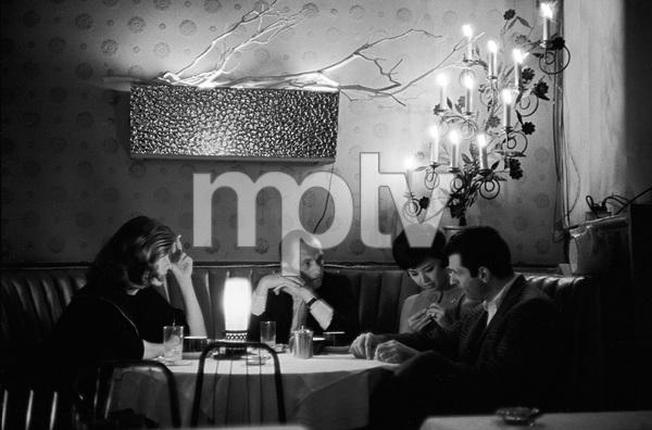 Bob Newhart with Michele Girardon (left) and Mort Sahl at the Crescendo nightclub1961 © 1978 Sid Avery - Image 0092_3026