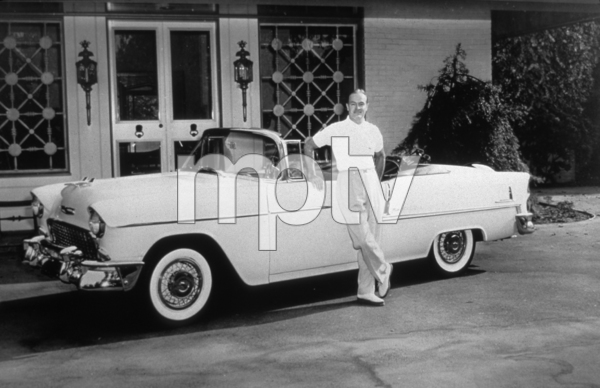 BOB HOPE WITH HIS 1955 CHEVROLET BEL AIR , AT HOME IN TOLUCA LAKE CA*M.W.* - Image 0173_0470