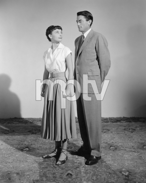 """Audrey Hepburn and Gregory Peck during the making of """"Roman Holiday""""1953 Paramount Pictures** I.V./M.T. - Image 0288_0242"""