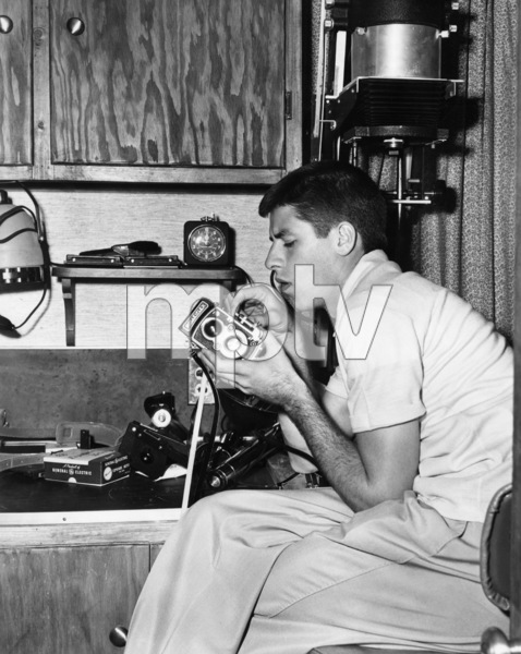 """After working all day in """"The Stooge"""" at Paramount, Jerry Lewis goes home to pursue his hobby of home-movies1951 ParamountPhoto by Mal Bulloch** I.V. / M.T. - Image 0292_0615"""