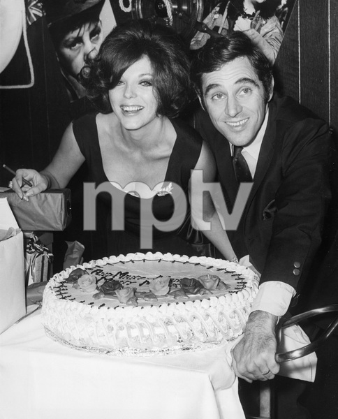 Joan Collins with her husband Anthony Newley celebrating his 34th birthday at Danny