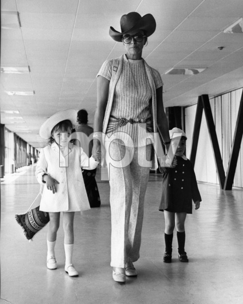 Joan Collins and her children (Tara and Sacha) at London