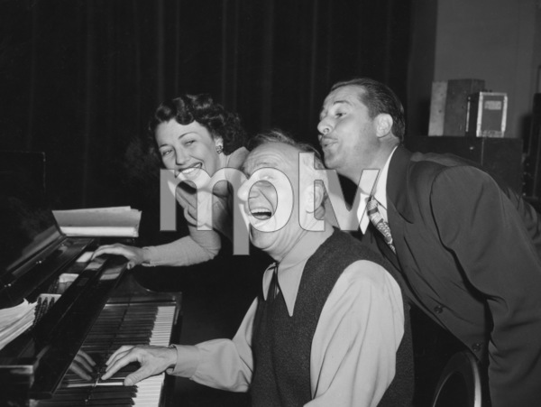 Jimmy Durante with Vera Vague (aka Barbara Jo Allen) and Don Amechecirca 1958Photo by Gabi Rona - Image 0312_0076