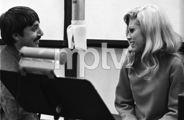 Nancy Sinatra in the studio with Lee Hazlewood during a recording session1968© 1978 Ed Thrasher - Image 0336_0193