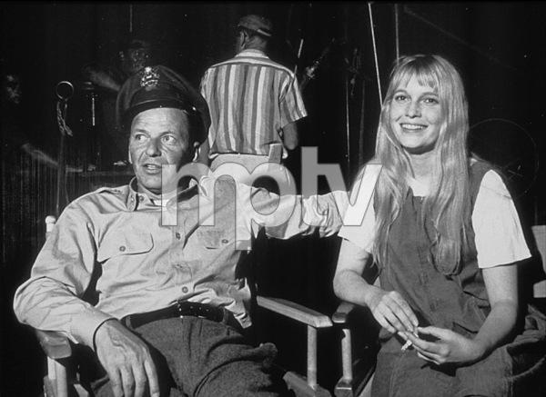 """Frank Sinatra and Mia Farrow on the set of """"Von Ryan"""