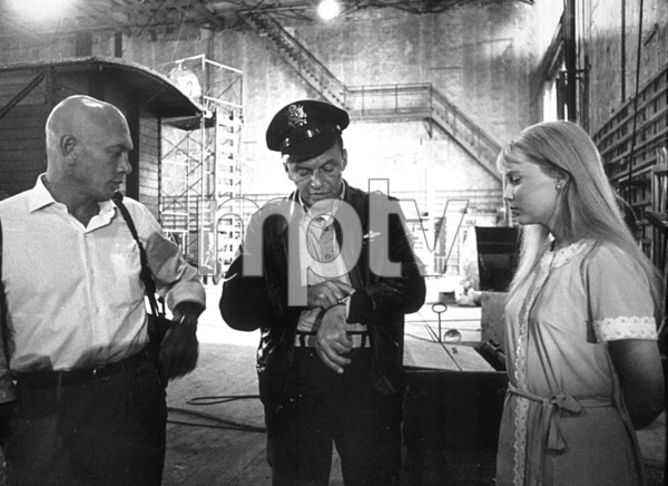 "Frank Sinatra meets Mia Farrow and Yul Brynner on the set of ""Von Ryan"