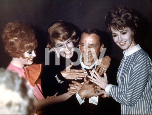 """Frank Sinatra with """"Come Blow Your Horn"""" co-stars Jill St. John, Phyllis McGuire, and Barbara Rush / 1963 © 1978 Ted Allan - Image 0337_0781"""