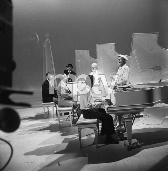 """Frank Sinatra, Peggy Lee and Bing Crosby rehearse with pianists Paul Smith, George Shearing and Joe Bushkin for """"The Bing Crosby Show""""1959© 1978 Sid Avery - Image 0337_1626"""