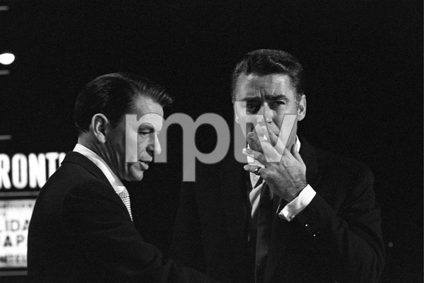 """Frank Sinatra and Peter Lawford during the filming of """"Ocean"""
