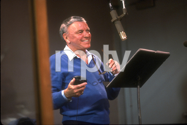 """Frank Sinatra at the Reprise recording session of """"L.A. Is My Lady"""" / A&R Studios, New York / 1984 © 1984 Ed Thrasher - Image 0337_1974"""