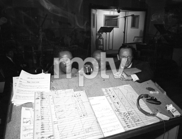 """Frank Sinatra with Count Basie and Quincy Jones at the recording session for the album """"It Might as Well Be Swing""""1964 © 1978 Ted Allan - Image 0337_1995"""