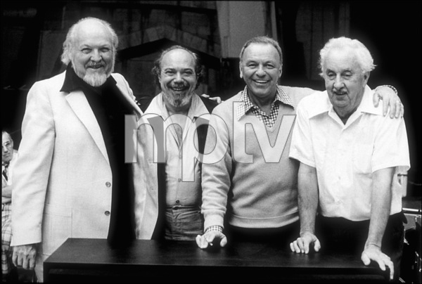 """Frank Sinatra with Billy May, Don Costaand Gordon Jenkins at the 1979 Reprise recording session of """"Trilogy"""" © 1979 Ed Thrasher - Image 0337_2042"""
