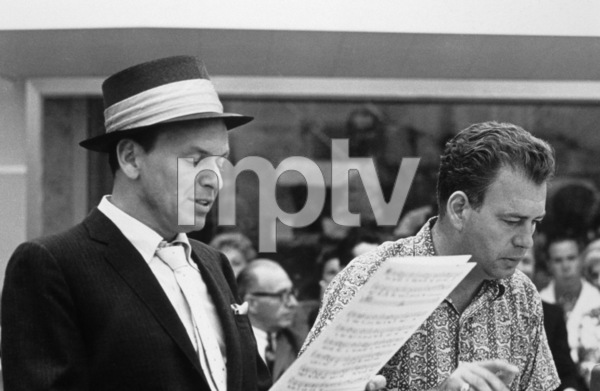 Frank Sinatra with arranger Nelson Riddle at a Capitol Records recording sessioncirca 1954© 1978 Sid Avery - Image 0337_2143