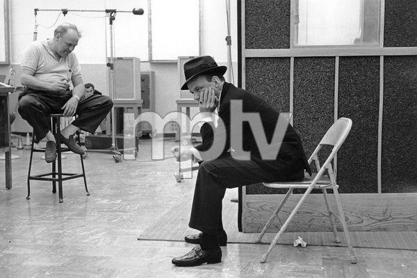 Frank Sinatra and arranger Billy May at a Capitol Records recording session circa 1959© 1978 Sid Avery - Image 0337_2164