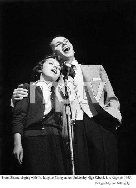 Frank Sinatra & Nancy Sinatra singing at her high school.1955 © 1978 Bob Willoughby - Image 0337_2349
