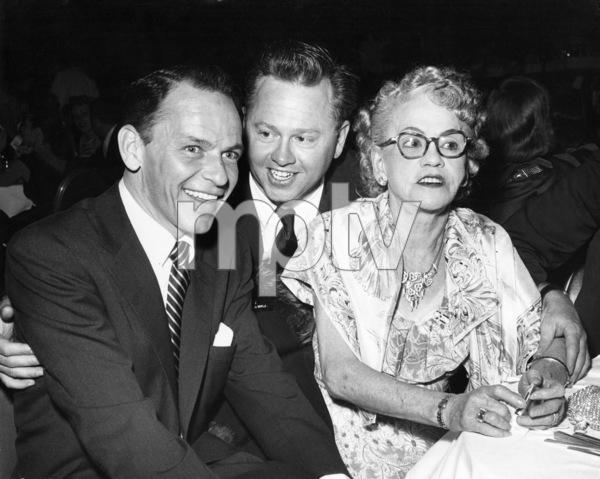 Frank Sinatra, Mickey Rooney and Mrs. Joe Yule, Mickey