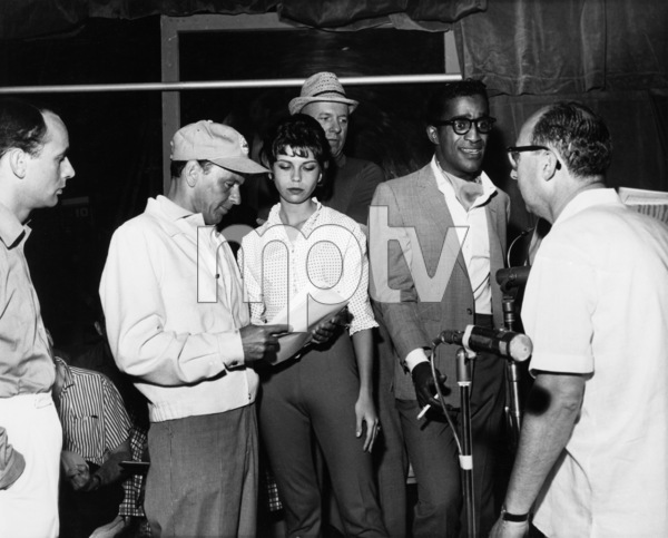 "Frank Sinatra with his daughter Nancy Sinatra, Jimmy Van Heusen, Sammy Davis Jr., Sammy Cahn, and Joey Bishop during rehearsals for ""The Frank Sinatra Timex Show: Welcome Home Elvis""1960** A.H. - Image 0337_2878"