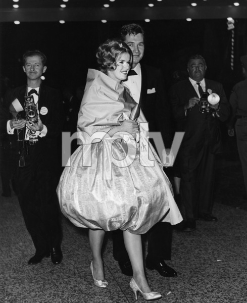 "Connie Stevens and date Gary Clarke at ""Spartacus"" premiere (photographer David Sutton back left)1960Photo by Joe Shere - Image 0658_0143"