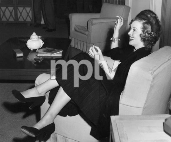 "Bette Davis between sceneswhile filming ""June Bride, 1948.Photo by Morgan - Image 0701_1290"