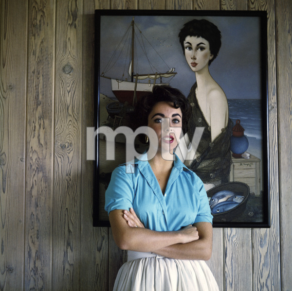 Elizabeth Taylor at her Beverly Hills home (1953 Phillip Noyer painting behind head)circa 1956© 1978 Sanford Roth / A.M.P.A.S. - Image 0712_5310