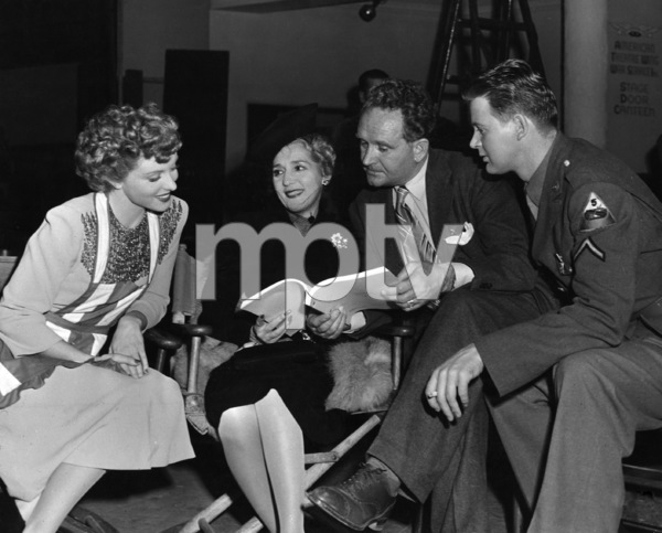 "Cheryl Walker, Mary Pickford, director Frank Borzage and William Terry look over the script for ""Stage Door Canteen""1943** I.V. - Image 0718_1152"