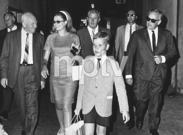 Grace Kelly, Amos Vogel, Howard Strickling, Prince Albert, and Prince Rainier visiting MGM studios.1967 - Image 0724_0111