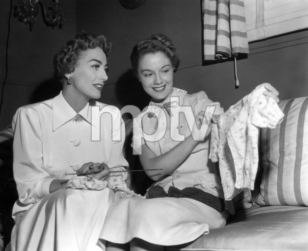 Joan Crawford knitting with Virginia Gibson1951Photo by Jack Woods - Image 0728_2090