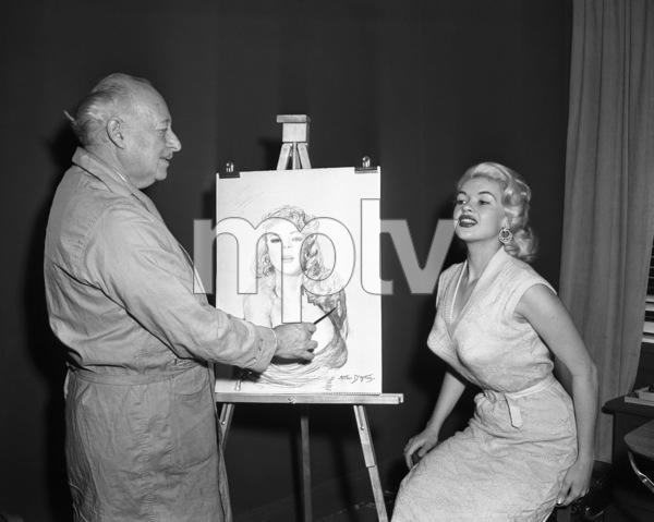 Jayne Mansfield posing for artist Arthur D