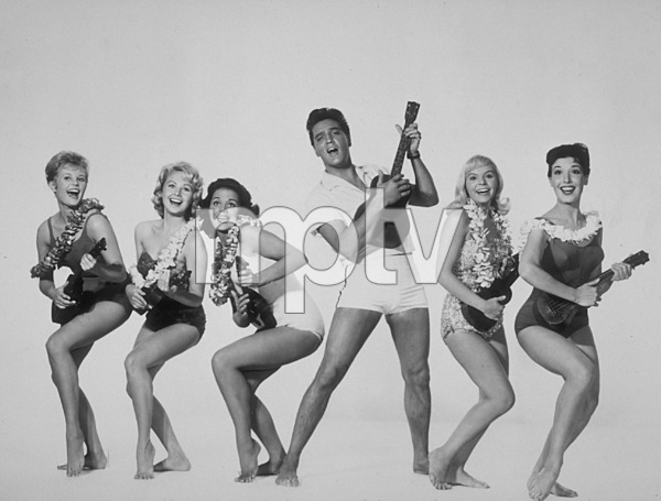 "Elvis Presley, P.Akert, Darlene Tompkins,Joan Blackman, J.Marshall, and ChristianKay in ""Blue Hawaii""1961 Paramount - Image 0818_0087"
