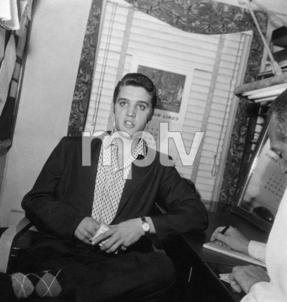 """Elvis Presley in his dressing room at """"The Steve Allen Show""""1956 © 1978 Roy Cummings - Image 0818_0751"""
