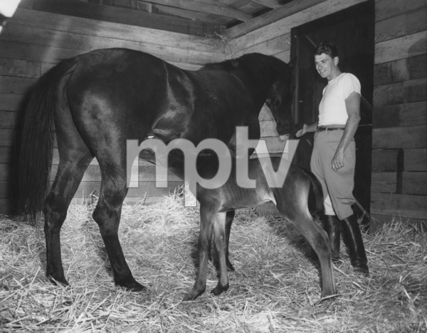 Ronald Reagan on his farm with an 8 hour old colt1949 © 1978 Floyd McCartyMPTV - Image 0871_0018