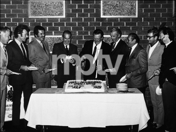 John Wayne with Lee Marvin, Clint Eastwood, Rock Hudson, Fred MacMurray, James Stewart, Ernest Borgnine, Michael Caine, and Lee Harvey, 1969. - Image 0898_3140