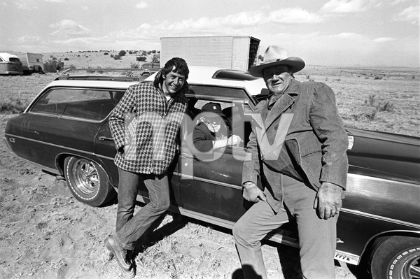 "John Ford visiting John Wayne and Mark Rydell on the set of ""The Cowboys""1971 © 1978 David Sutton - Image 0898_3398"