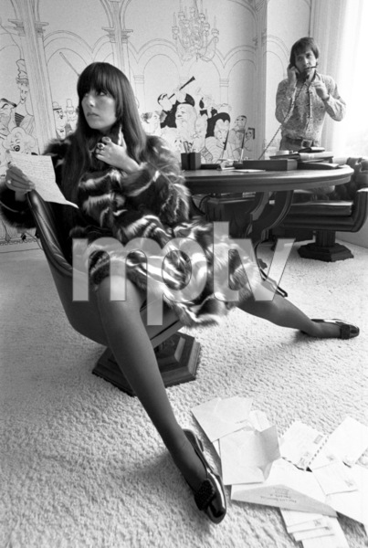 Cher Bono and Sonny Bono in their Sunset Strip office 1967© 1978  Bob Willoughby - Image 0967_0300