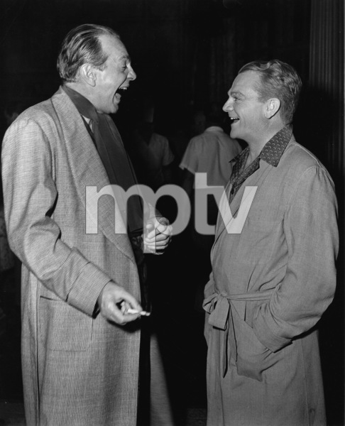 """James Cagney,Raymond Massey on the set of """"Come Fill The Cup""""1951 WarnerPhoto By Mac Julian - Image 0969_0038"""