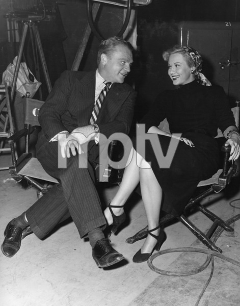 "James Cagney and Virginia Mayo between scenes during the making of ""White Heat""1949 Warner BrothersPhoto by Frank Bjerring - Image 0969_0047"