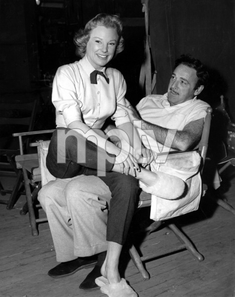 """June Allyson and Dir. Gordon Douglas on the set of""""The McConnell Story""""1955 - Image 0983_0062"""